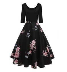 Audrey Hepburn Vintage Party Dress Women Floral Flare Midi Dresses Winter Autumn Retro Dress Vestidos Robe Femme black S Midi Flare Dress, Floral Midi Dress, Floral Dresses, Printed Dresses, Lace Dress, Floral Lace, Floral Outfits, Tulip Dress, Girl Clothing