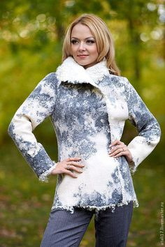Пиджаки, жакеты ручной работы. Ярмарка Мастеров - ручная работа. Купить Жакет Гризайль-войлок. Handmade. Белый, валяный жакет