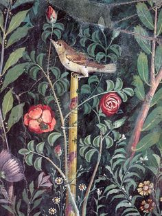 Nightingale with roses - fragment of garden mural from the south wall, House of the Golden Bracelet, Pompeii.