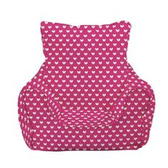 Furniture Picturesque Pink Bean Bag Chair Decoration With Stylish White Heart And Arms For Childrens Funny Chairs