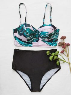 Push Up Tropical Print Underwire Bikini - BLACK L