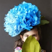Giant tissue paper hydrangea to wear on my head? Why, yes!