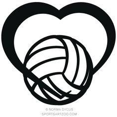 Royalty-free vector clipart available for digital download of a stylized design of a stylized volleyball wrapped in the bottom of a heart. Inside the ZIP file are royalty-free versions of this design with a transparent background EPS, JPG and PNG formats in both black and red colors. Upon pu