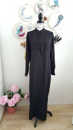 Langarm Maxikleid Kleid lang in schwarz Tunika boho