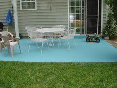 DIY Painting Concrete Patio   Aqua!