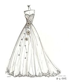 custom gown sketch, great gift for anniversary or shower