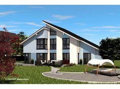 Einfamilienhaus modern pultdach  Einfamilienhaus modern Holzhaus versetztes Pultdach modern Fenster ...