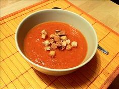 Tomato Gazpacho; Seriously, a low sodium soup!! Under 100 calories, and lots of potassium! Sounds like a great summer soup!
