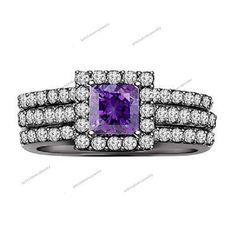 10K Black Gold Over Diamond & Amethyst Women's  Wedding 3Pcs Bridal Ring Set #br925silverczjewelry