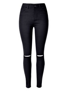 Shop Black Knee Rips Detail High Waist Skinny Jeans from choies.com .Free shipping Worldwide.$27.99