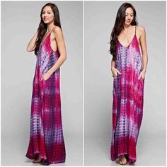 LISTING! NWT Pink/Purple Tie Dye Maxi Dress NWT Pink/Purple Tie Dye Maxi Dress. This cocoon style maxi dress has adjustable skinny straps and even has pockets. Relaxed v-neckline. 100% Rayon. Each piece will have slightly unique dye patterns. Available in S/M (0-6), M/L (8-14), fits true to size with a loose/generous fit.No Trades and No Paypal⭐️ONLY COMES IN S/M or M/L, when purchasing select one of these size options⭐️ Dresses Maxi