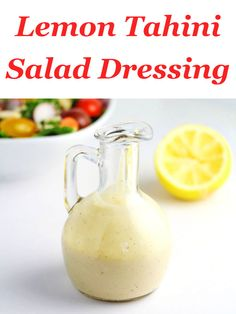 Lemon Tahini Salad Dressing made with simple fresh ingredients! This will be your new go-to salad dressing!