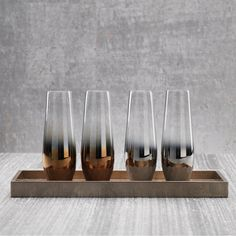 Fez Tonal Stemless Champagne Flutes - Set of 4 - Bronze - CARLYLE AVENUE - 2