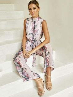 0e08a0c1406 Sleeveless Printed Backless Jumpsuits Bottoms. Sleeveless Backless Floral  Wide Leg ...