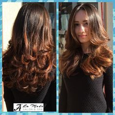"Soft caramel Balayage highlights on a natural dark base, layered cut and wavy blowout. This look is perfect on dark hair if your looking to add some ""punch"" to the solid hair color #caramel #balayage #highlights #layers #hair #cut #curls #blowdry #caramelbalayage #balayagehighlights #layered #wavy #dark #natural #base #darkbase #instahair #instacolor #newlook #hairfashion #aveda #loreal #nyc #brooklyn #bayridge #alamodesalonandspa #hairsalon #7184911100"