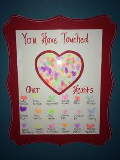 End of the year gift I made for my son's teacher. I had all the kids use the… End of the year gift I made for my son's teacher. I had all the kids use their fingerprints to make a heart above their names and found the frame at Michaels. by cheryl Teacher Retirement Gifts, Teacher Birthday, Teacher Gifts From Class, Teacher Presents, Pastor Appreciation Poems, Teacher Appreciation Week, Volunteer Appreciation, Goodbye Cards, Goodbye Gifts