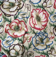 Cotton Phillip Jacobs Multi-Colored Banded Poppies on Natural