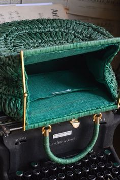 Vintage Woven Italian Handbag / Turquoise Color with Gold