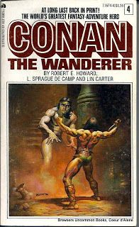 CONAN THE WANDERER [#4]  by Robert E. Howard, L. Sprague de Camp, and Lin Carter  Mass Market Paperback , Prestige Books / Ace.  Published in 1968 Cover art by Boris. This copy sold.