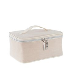 """Golden Door Jute Cosmetic Bag - Take along this classic """"train case"""" style bag made of natural jute fiber with water-resistant lining. It's roomy enough t o hold all your Golden Door Skin Care travel essentials."""