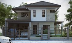 Modern house design has 4 bedrooms, 2 baths and space for 2 garage stall. The floor plan features of this modern. Modern Zen House, Best Modern House Design, Modern Exterior House Designs, Modern Bungalow House, Modern Architecture House, Zen House Design, 2 Storey House Design, Simple House Design, Philippines House Design