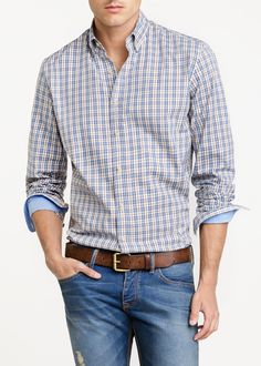 Camisa slim-fit cuadros - Hombre | OUTLET Casual Attire, Casual Outfits, Casual Shirts For Men, Men Casual, Semi Formal Outfits, Rich Man, Stylish Men, Boxers, Fashion Men