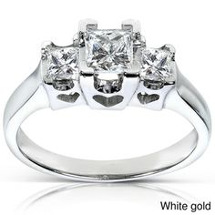 Annello 14k Gold 3/4ct TDW Princess Diamond Ring With Hearts (H-I, I1-I2) | Overstock.com Shopping - The Best Deals on Engagement Rings