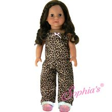 48e6ceea3b 2 Pc PJ Set Leopard Print Pajamas and Fur Trim Slippers fits American Girl  18 Inch