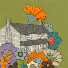 If you like to mix ghost stories and gardening, Hollie Chastain's paper collage plants Tennessee's renowned haunted Bell homestead in a colorful bed of blossoms. This paper artwork will feel comfortable on its own or in the presence of other unearthly, spooky or legendary decor.