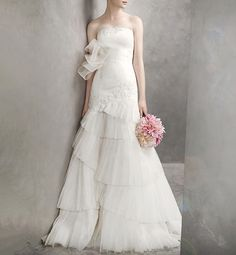 Wedding Gowns For Under $500 - White by @Vera Wang layered skirt and oversize bow @David's Bridal