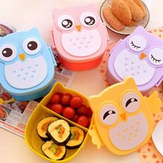 £2.42 GBP - Cute Owl Plastic Lunch Box Kids Cartoon Case Bento Portable Picnic Container Hot #ebay #Home & Garden