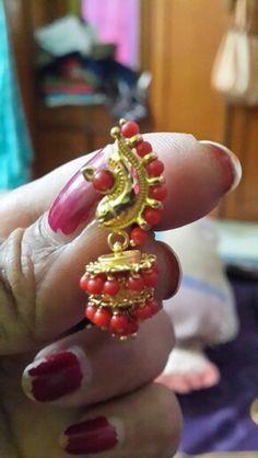 Gold Earrings Models, Gold Bar Earrings, Jewelry Design Earrings, Coral Earrings, Gold Earrings Designs, 24k Gold Jewelry, Coral Jewelry, Beaded Jewelry, Jewelery