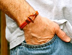 Men's Bracelet Simple Leather Bangle Copper Toggle Mens Leather Bracelet Fathers Day Gift