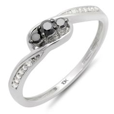 0.25 Carat (ctw) 10k White Gold Round Black & White Diamond Ladies 3 Stone Engagement Promise Ring 1/4 CT DazzlingRock Collection. $129.00. Ring is smaller than what appears in the photo. Diamond Color / Clarity : Black & I-J / Opaque & I2-I3. Weighs approximately 1.50 grams. Items is smaller than what appears in photo. Photo enlarged to show detail. Crafted in 10k White-gold