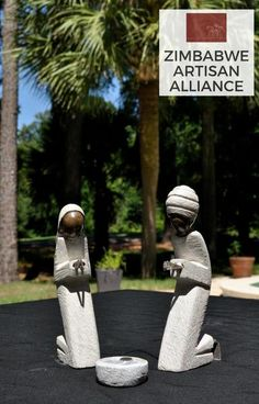 """Nativity Scene Set"" Sculpture A beautiful and gorgeously detailed nativity scene set. Sculpted from serpentine stone and recycled metal in Zimbabwe.  By the artist Kingston."