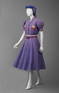 * Wedding ensemble - linen, silk, cotton 1940 Jeanne Lanvin