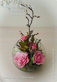 Beautiful floral table centerpieces in aquariums - New Wedding Decorations Clay Flowers, Flower Vases, Paper Flowers, Ikebana, Deco Floral, Floral Design, Flower Crafts, Flower Art, Modern Flower Arrangements