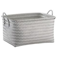 Large Woven Rectangular Storage Basket - Grey and White - Room Essentials™