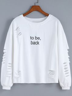 Shop White Round Neck Cut-out Letters Print Sweatshirt online. SheIn offers White Round Neck Cut-out Letters Print Sweatshirt & more to fit your fashionable needs. Hoodie Sweatshirts, Sweatshirts Online, Printed Sweatshirts, Frauen Sweatshirts, Mode Outfits, Fall Outfits, Casual Outfits, Fashion Outfits, Tumblr Outfits