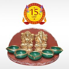 Buy Authentic Lakshmi Ganesh Pancha Deepam made with organic clay and natural colours this #Diwali  and make the celebration more unique. Get 15% off on #DiwaliDeepam.