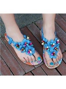 Gorgeous Flower Print Cloth Bohemia Style Flat Sandals