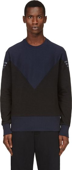Y-3 Blue & Black Paneled Hero Sweater