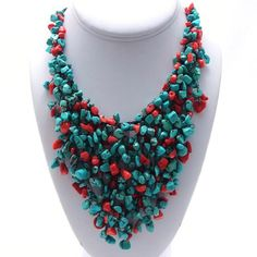 Cotton Red Coral and Turquoise Waterfall Bib Necklace (Thailand) | Overstock.com Shopping - The Best Deals on Necklaces