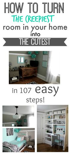 Before and After: A creepy dark old bedroom becomes a bright, clean and cheerful room perfect for any teen or tween!