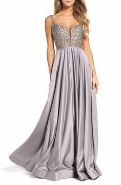 La Femme Studded Illusion Ballgown