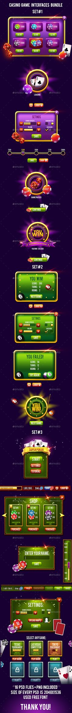 Casino Game Interface Bundle PSD, Transparent PNG. Download here: https://graphicriver.net/item/casino-game-interface-bundle/17506085?ref=ksioks