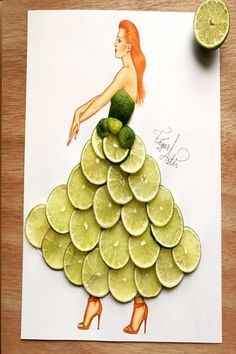 Lime Slices Illustration by Edgar Artis Fashion Design Drawings, Fashion Sketches, Unique Drawings, Art Drawings, Arte Fashion, Fashion Illustration Dresses, Fashion Illustrations, Illustration Mode, Dress Drawing