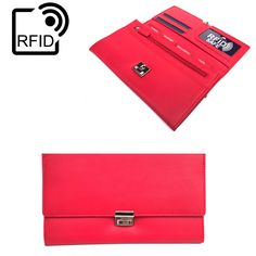 Prime Hide Luxury Soft Leather RFID SAFE Travel Planner Wallet Travel Purse In Red