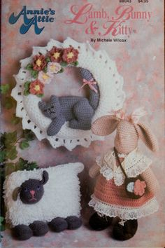 Vintage Annie's Attic Crochet Lamb, Bunny and Kitty Pattern Booklet From 1992 by ZacInTheBoxVintage on Etsy