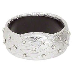 Retro Silver Faux Croc and Clear Rhinestones 32mm Wide Vinyl Bangle Bracelet